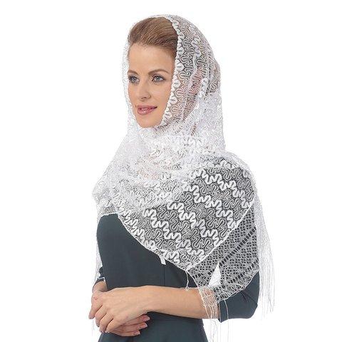 Шарф ажурный женский - Белый