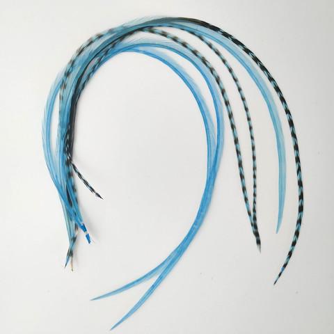 Перья петуха в волосы 25-30 см. 6 шт. (бирюзовый)