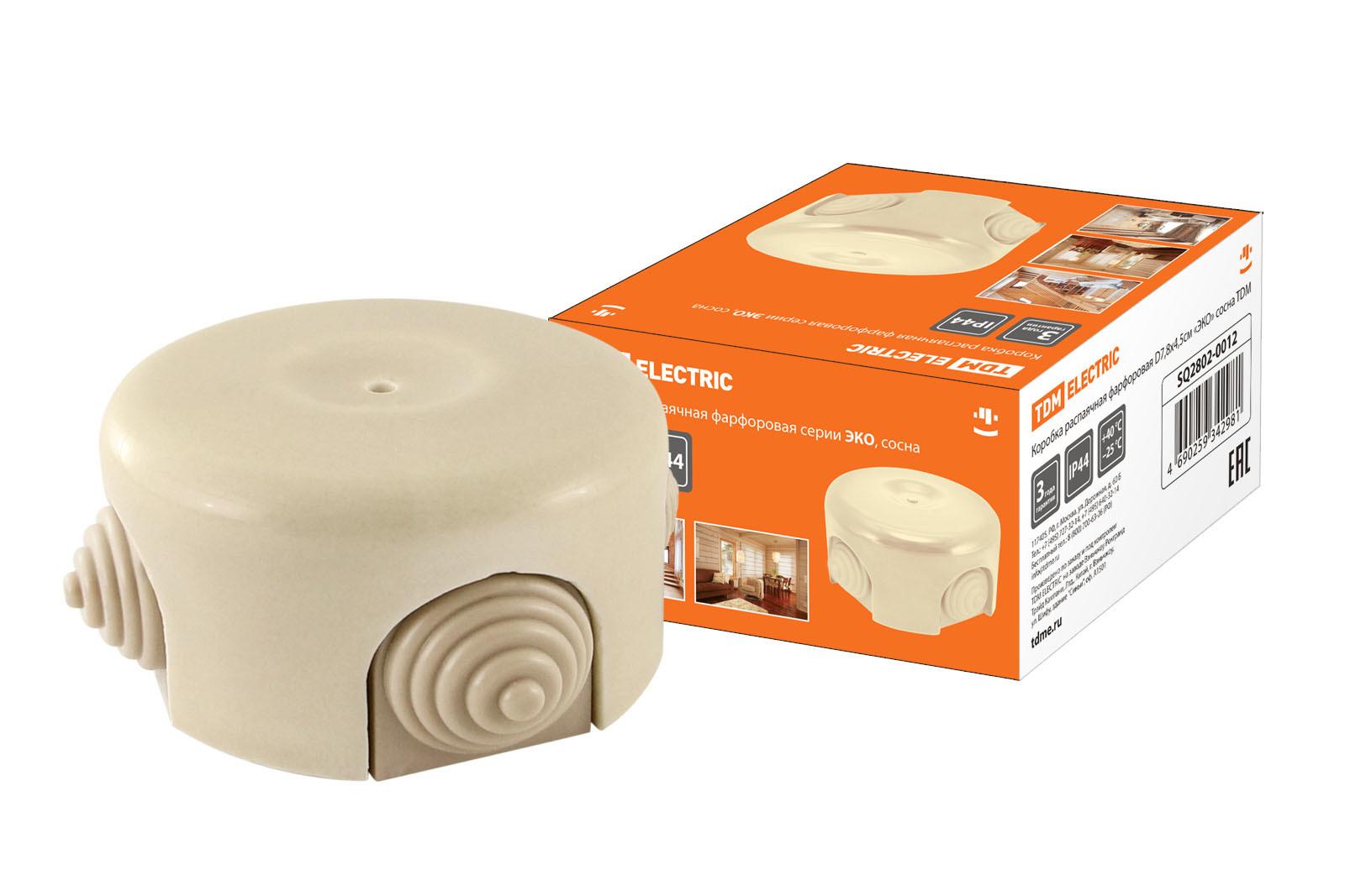 Коробка распаячная фарфоровая D7,8х4,5см «ЭКО» сосна TDM