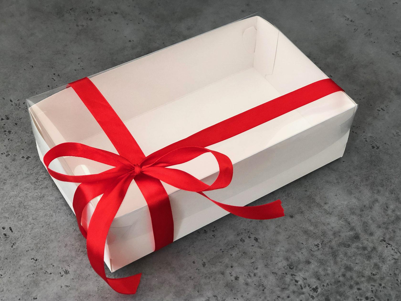 Коробка для зефира и сладостей прозрачная 25х15х7 см, БЕЛАЯ