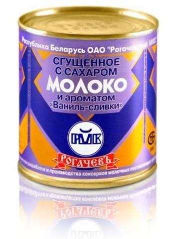 Молоко цельное сгущённое с сахаром и ванильно-сливочным ароматом 8,5% 380г. Рогачёв