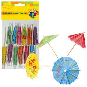 Шпажки для канапе деревянные Зонтик 12шт