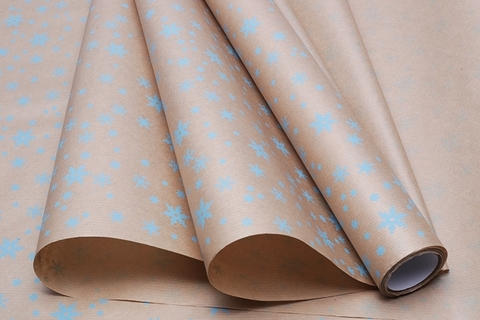 Бумага крафт 40г/м2, 70 см x 10 м, Снежинка, цвет: голубой
