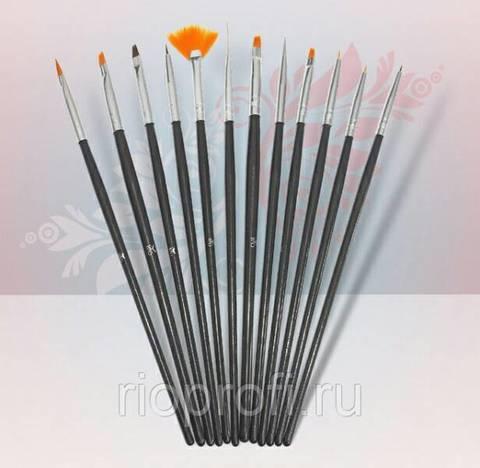Rio Profi Набор кистей для дизайна с черной ручкой 12 шт