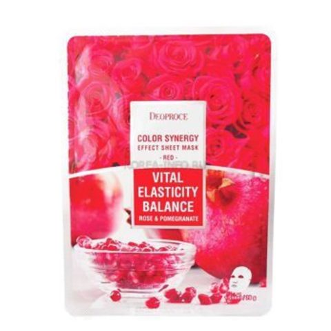 Укрепляющая тканевая маска  с экстрактами граната и лепестков роз Deoproce Color Synergy Effect Sheet Mask Red