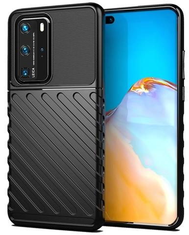 Мягкий защитный чехол на Huawei P40 Pro, черный цвет, серии Onyx от Caseport