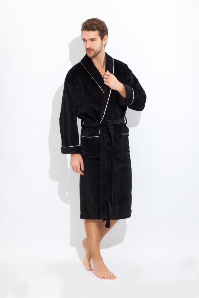 Махровые мужские халаты Elegant 1588 черный  махровый  мужской халат  PECHE MONNAIE   Россия 1588black.jpg