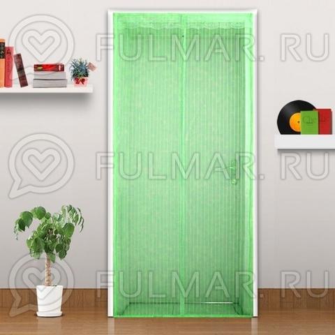 Дверная антимоскитная сетка на магнитных полосах и магнитах 90х210 см Салатовая