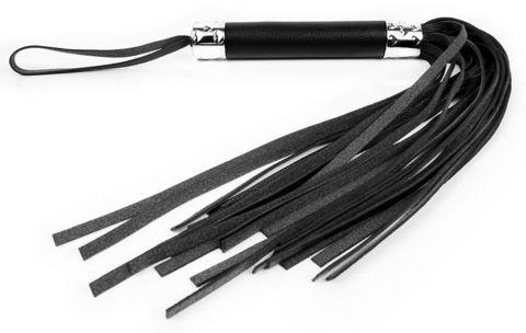 Черная многохвостая плеть с круглой ручкой - 44 см.