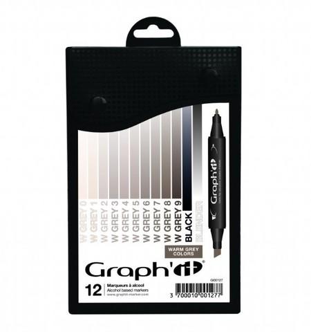 Набор маркеров GRAPH'IT WARM GREYS 12шт. оттенки серый теплый