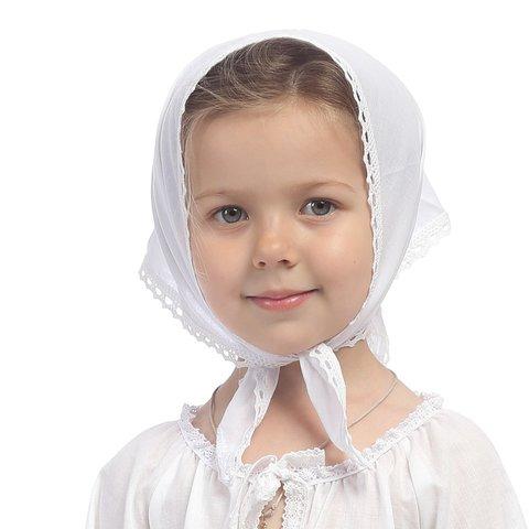 Косынка детская из батиста с кружевом