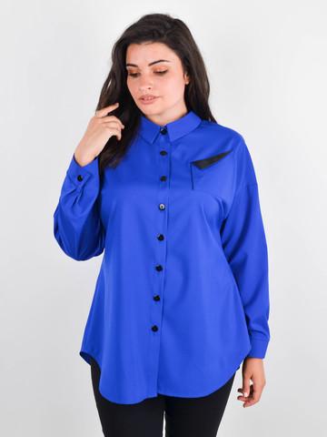 Николь. Женская рубашка для больших размеров. Электрик.