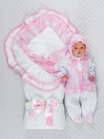 Комплект на выписку летом Beautiful Мари розовый