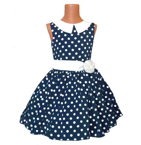Платье темно-синее в горох с воротничком