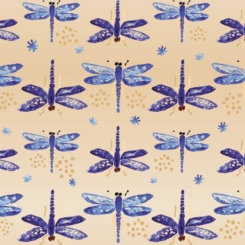 Стрекозы на персиковом фоне
