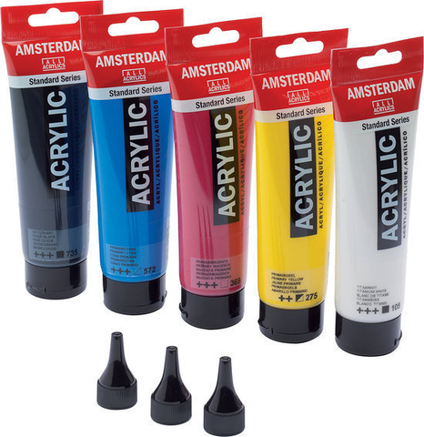 Набор акриловых красок Amsterdam Standard - 5 цветов в тубах по 120мл + 3 дозатора