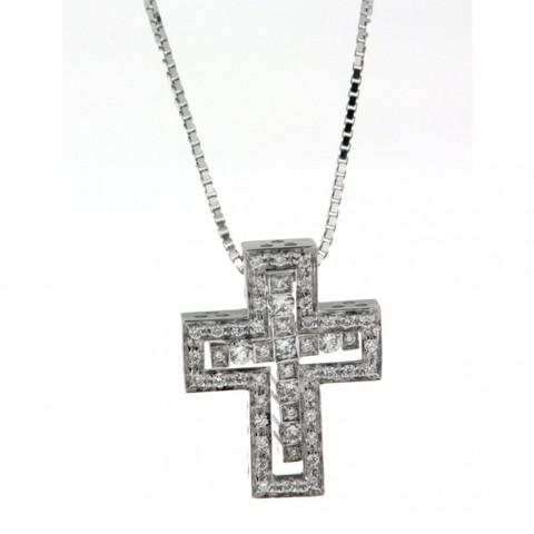 Двойной крест из серебра с цирконами  DOMIANI