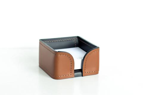 Лоток для блока бумаги из кожи Табак / шоколад