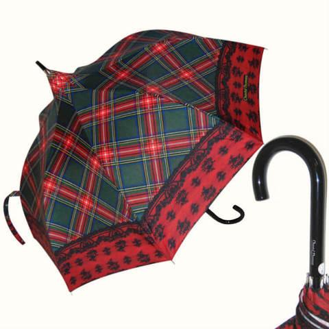 Женский зонт-трость в красную клетку с кружевом, винтаж