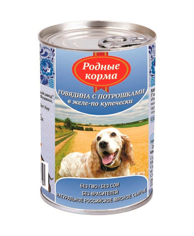 Родные Корма консервы для собак говядина с потрошками в желе по-купечески 410 г