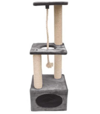 Когтеточка - Домик квадратный с двумя уровнями площадок и веревкой