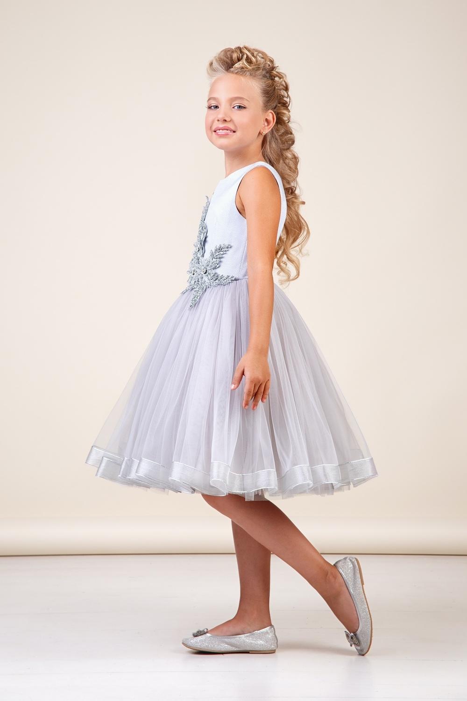Платье серебристое для девочки 38-8034-2