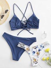 Купальник раздельный с двумя трусами серо-голубой цветочный принт 2