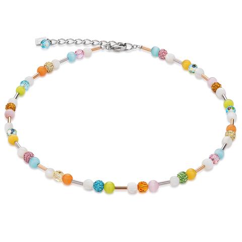 Колье Coeur de Lion 4913/10-1527 цвет мультиколор, оранжевый, зелёный, голубой, розовый