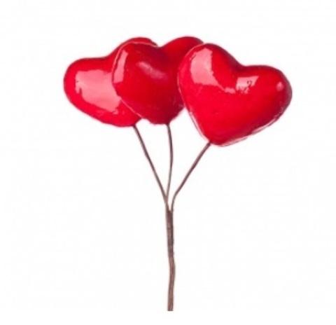 Набор сердец на вставках 3шт., размер: D4,5xL10см, цвет: красный
