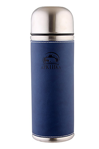 Термос Арктика (108-500 синий) 0,5 литра с узким горлом, синий, кожаная вставка