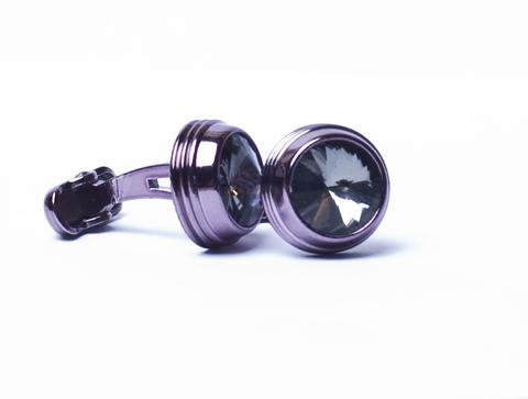 Запонки Quesste круглые сиреневый металл серый камень