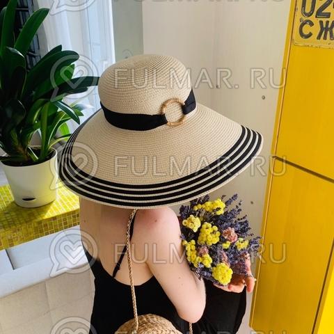 Женская соломенная шляпа с широкими полями Очаровашка с чёрной лентой и бамбуковым кольцом