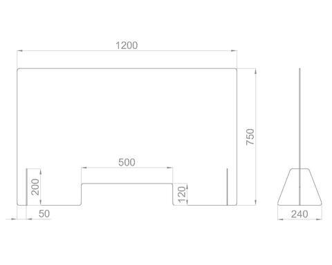 Настольный экран с окном Ш.1200 мм, В.600/750 мм