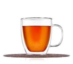 Двойная кружка 375 мл для кофе и чая стеклянная, прозрачная