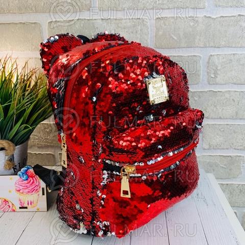 Рюкзак с пайетками и Ушами меняет цвет Красный-Серебристый Пупс