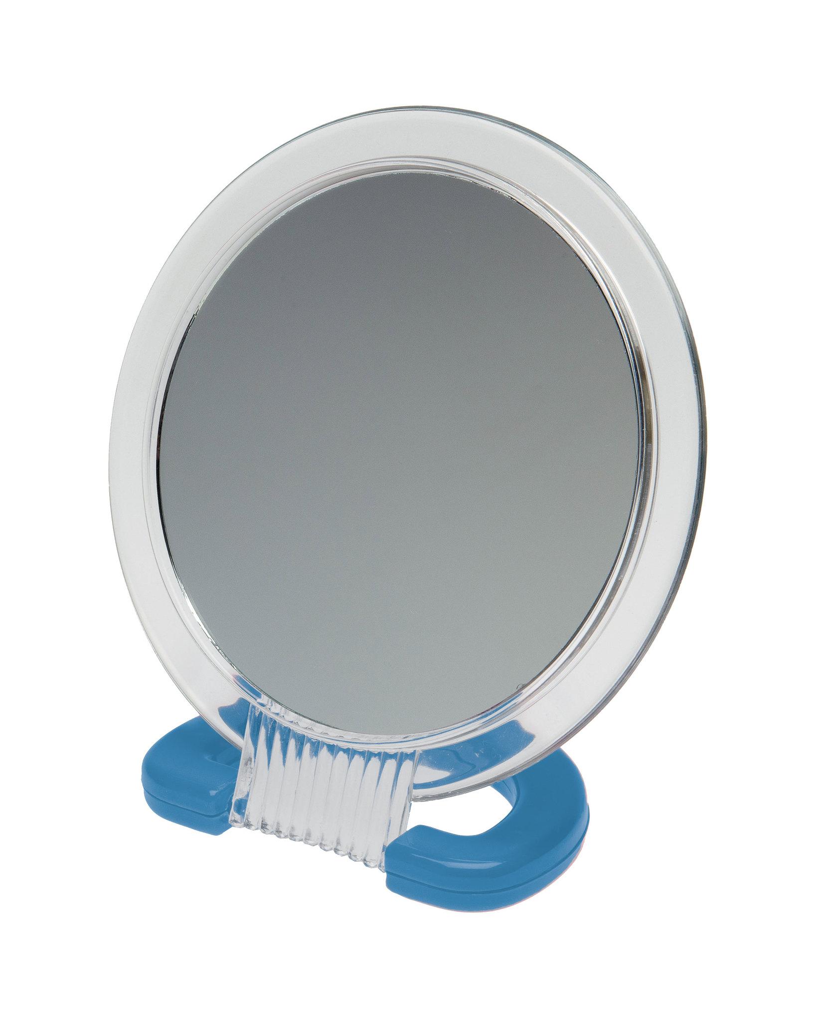 Зеркало Dewal Beauty настольное, в прозрачной оправе, на пластковой подставке синего цвета, 230x154мм