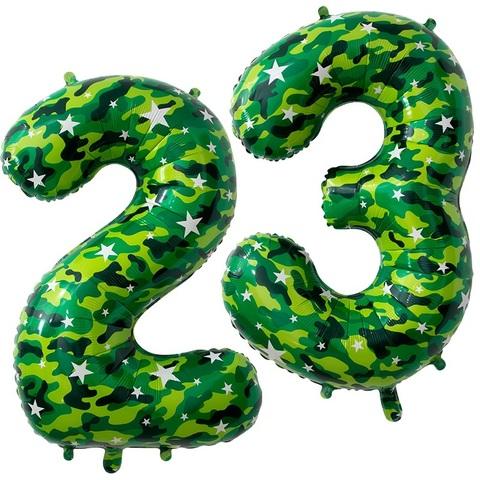 Фольгированные цифры 23, камуфляж