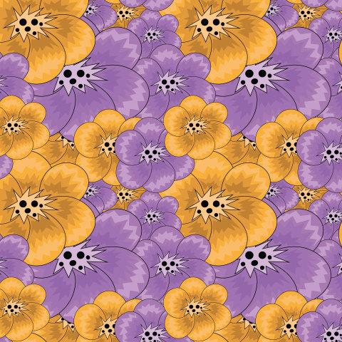 Оранжевые и фиолетовые цветы