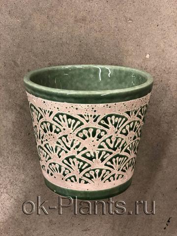 Кашпо Керамика зеленое