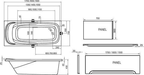 Ванна акриловая Ravak Vanda II 160X70 CP11000000 схема