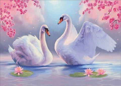 Алмазная Мозаика 5D 40x50 Лебеди и кувшинки