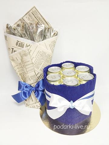 Комплект торт из пива мини и букет из воблы