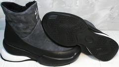 Зимние женские сникерсы без шнурков Jina 7195 Leather Black-Gray