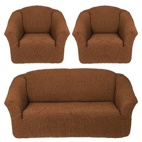 Комплект чехлов для дивана и двух кресел коричневый без оборки.