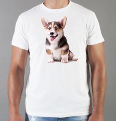 Футболка с принтом собаки (Собачки, Вельш-корги) белая 0025