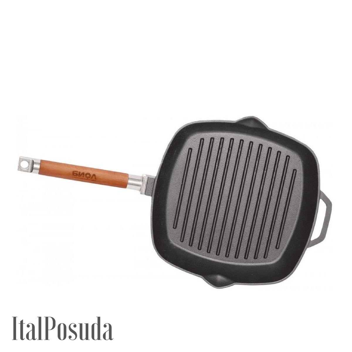 Сковорода Гриль БИОЛ чугунная 24х24 см со съемной ручкой