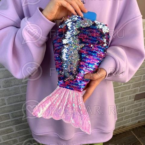 Детская сумочка хвост Русалки в пайетках меняет цвет Фиолетовая-блестящая серебристая