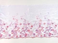 Вышивка на сетке, ПРАВАЯ, 20 см, белый/розовые сердечки, м