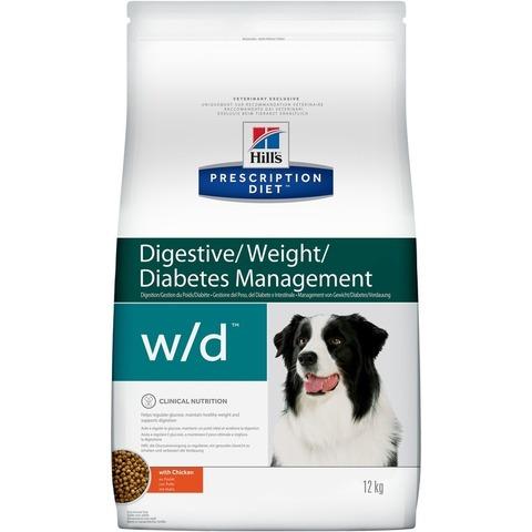 Корм для собак Hill's (12 кг) Prescription Diet w/d Digestive/Weight/Diabetes Management Chicken при диабете, с Курицей