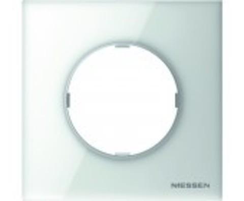 Рамка на 1 пост. Цвет Белое стекло. ABB(АББ). Skymoon(Скаймун). 2CLA867100A3001